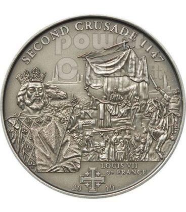 CRUSADE 2 Louis VII Holy Crusades Silver Coin 5$ Cook Islands 2010