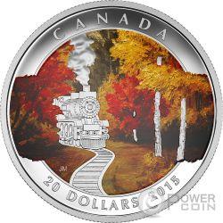 AUTUMN EXPRESS Mobility Train Railroad Серебро Монета 20$ Канада 2015