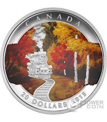 AUTUMN EXPRESS Mobility Train Railroad Silver Coin 20$ Canada 2015