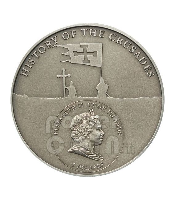 CRUSADE 2 Louis VII Holy Crusades Silver Coin 5$ Cook Islands 2010