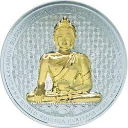 SHAKYAMUNI BUDDHA World Heritage 5 Oz Moneda Plata Bhutan 2015