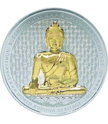 BUDDHA SHAKYAMUNI World Heritage Moneta 5 Oz Argento Bhutan 2015