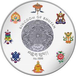 SHAKYAMUNI BUDDHA World Heritage 5 Oz Silver Coin Bhutan 2015