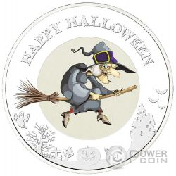 HALLOWEEN WITCH Glow In The Dark 1 oz Moneda Plata 2$ Niue 2015