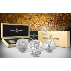 GOLD NUGGET EDITION America Pepita Set Walking Liberty Maple Leaf Libertad 1 Oz Moneta Argento 2015