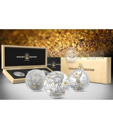 GOLD NUGGET EDITION America Set Walking Liberty Maple Leaf Libertad 1 Oz Silver Coin 2015