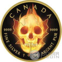 BURNING MAPLE SKULL Fire Black Ruthenium Gold 1 Oz Silber Münze 5$ Canada 2015