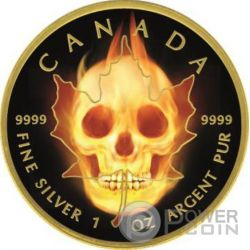 BURNING MAPLE SKULL Fire Black Ruthenium Gold 1 Oz Silver Coin 5$ Canada 2015