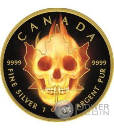 BURNING MAPLE SKULL Teschio Fuoco Nera Rutenio Moneta Argento 5$ Canada 2015