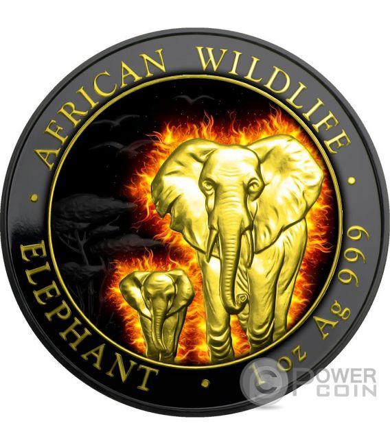 BURNING ELEPHANT Elefante Nera Rutenio Moneta Argento 100 Shillings Somalia 2015
