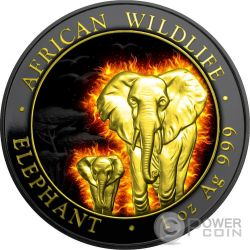 BURNING ELEPHANT African Wildlife Black Ruthenium 1 Oz Moneda Plata 100 Shillings Somalia 2015