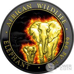 BURNING ELEPHANT African Wildlife Black Ruthenium 1 Oz Silver Coin 100 Shillings Somalia 2015