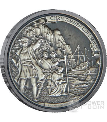 CHRISTOPHER COLUMBUS Cristoforo Colombo Journeys Of Discovery 2 oz Moneta Argento 5$ Niue 2015