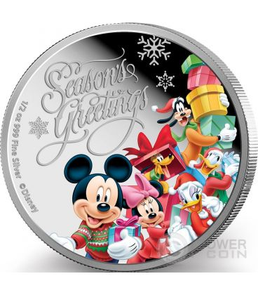 SEASON GREETINGS Natale Mickey And Friends Disney 1/2 Oz Moneta Argento 1$ Niue 2015