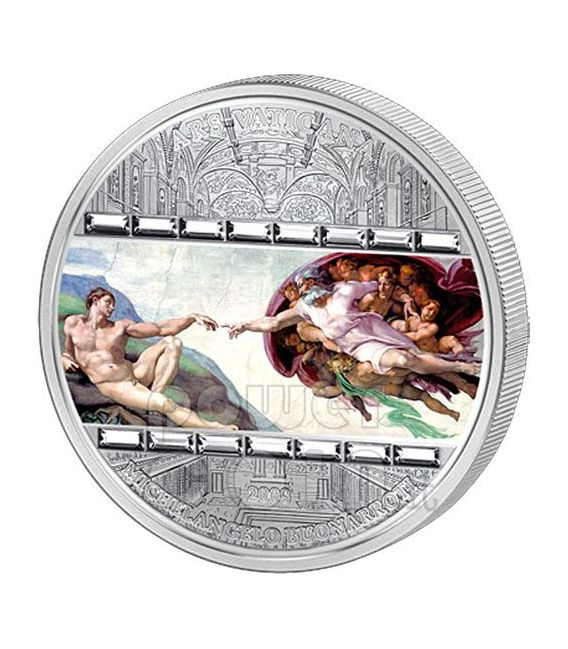 CREATION OF ADAM Michelangelo 3 Oz Silver Coin 20$ Cook Islands 2008