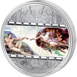 CREATION OF ADAM Michelangelo 3 Oz Silber Münze 20$ Cook Islands 2008