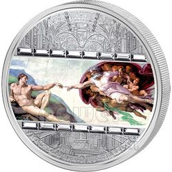 CREATION OF ADAM Michelangelo 3 Oz Silver Coin 20$ Cook Islands 2008