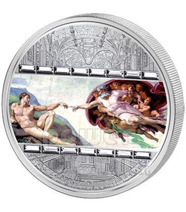 CREAZIONE DI ADAMO Michelangelo Moneta Argento 3 Oz 20$ Cook Islands 2008