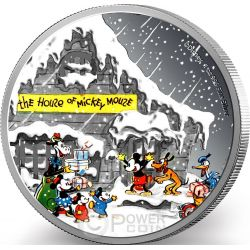 SEASON GREETINGS CLASSIC Biglietto Auguri Natale Mickey And Friends Disney 1 Oz Moneta Argento 2$ Niue 2015