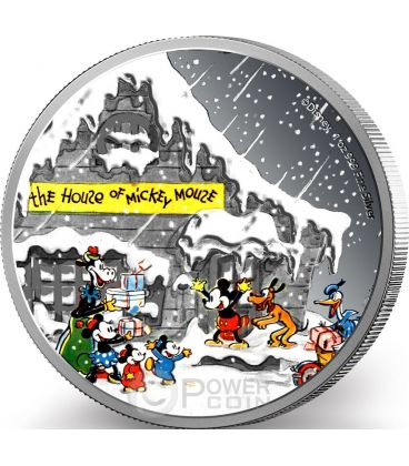 SEASON GREETINGS CLASSIC Card Christmas Mickey And Friends Disney 1 Oz Silver Proof Coin 2$ Niue 2015
