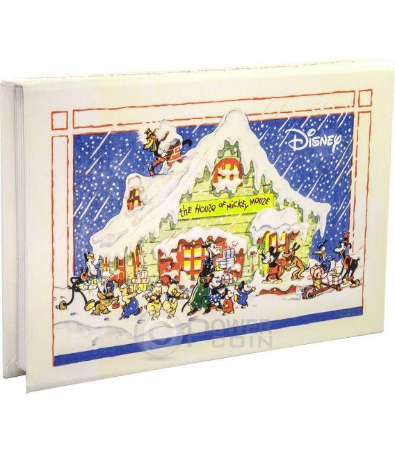 SEASON GREETINGS CLASSIC Biglietto Auguri Natale Mickey And Friends Disney 1 Oz Moneta Argento 2$ Niue 2015