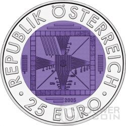 FIFTY YEARS OF TELEVISION Niobium Silber Bimetallic Münze 25€ Euro Austria 2005