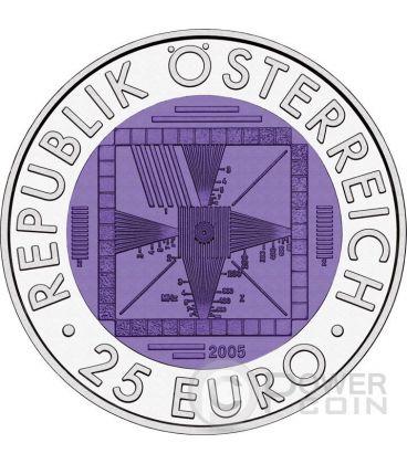 FIFTY YEARS OF TELEVISION Cinquanta Anni Di Televisione Niobio Moneta Bimetallica Argento 25€ Euro Austria 2005