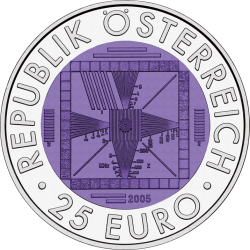 FIFTY YEARS OF TELEVISION Niobium Silver Bimetallic Coin 25€ Euro Austria 2005