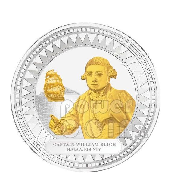 WILLIAM BLIGH HMAV BOUNTY Captain Silver Coin Gilded 2$ Pitcairn Islands 2009