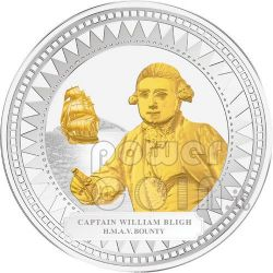 WILLIAM BLIGH HMAV BOUNTY Captain Silber Münze Gilded 2$ Pitcairn Islands 2009