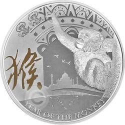 MONKEY Gilded Lunar Year Series 1 Oz Plata Proof Moneda 2$ Niue 2016