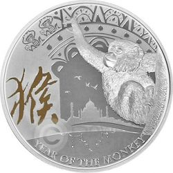 MONKEY Gilded Lunar Year Series 1 Oz Silver Proof Coin 2$ Niue 2016