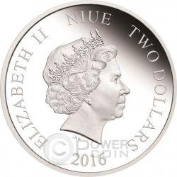 MONKEY Gilded Lunar Year Series 1 Oz Серебро Proof Монета 2$ Ниуэ 2016