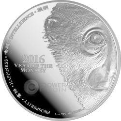SCIMMIA Viso Monkey Lunar Serie Moneta 1 Oz Argento Proof 2$ Niue 2016