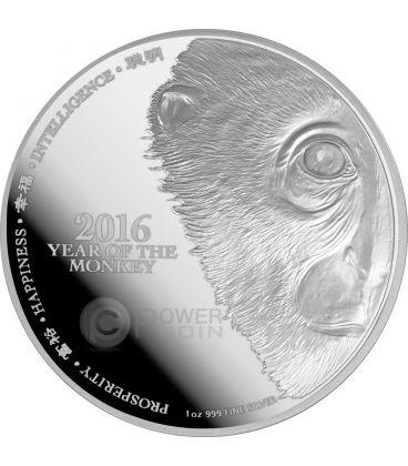 MONKEY Face Lunar Year Series 1 Oz Silver Proof Coin 2$ Niue 2016