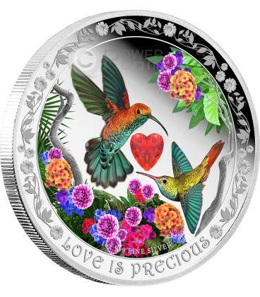 HUMMINGBIRD Love Is Precious Silver Proof Coin 2$ Niue 2016