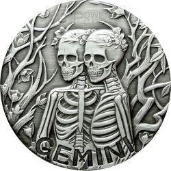 GEMINI Memento Mori Zodiac Skull Horoscope Moneda Plata 2015