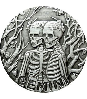GEMINI Memento Mori Zodiac Skull Horoscope Silver Coin 2015