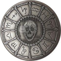 GEMINI Memento Mori Zodiac Skull Horoscope Серебро Монета 2015