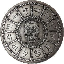 GEMINI Memento Mori Zodiac Skull Horoscope Silber Münze 2015