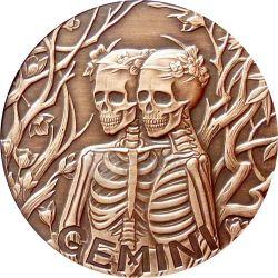 GEMINI Memento Mori Zodiac Skull Horoscope Copper Moneda 2015