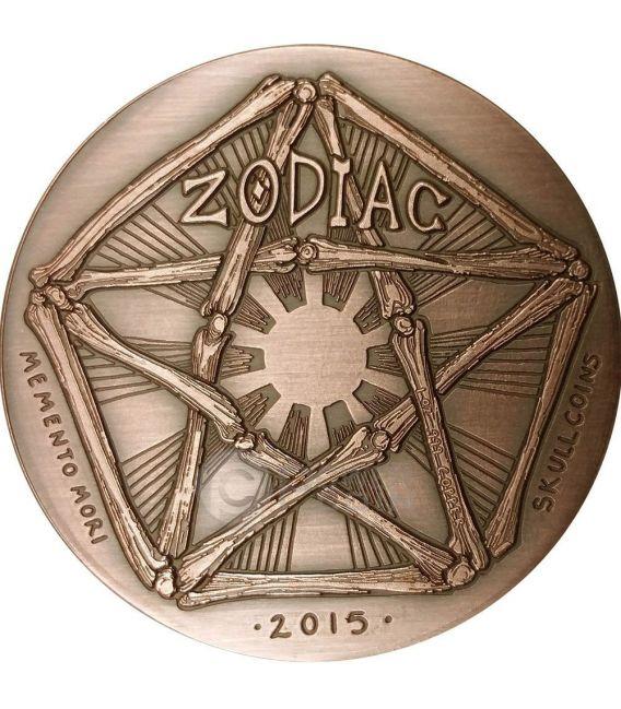 GEMINI Memento Mori Zodiac Skull Horoscope Copper Münze 2015