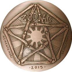 GEMINI Memento Mori Zodiac Skull Horoscope Copper Coin 2015
