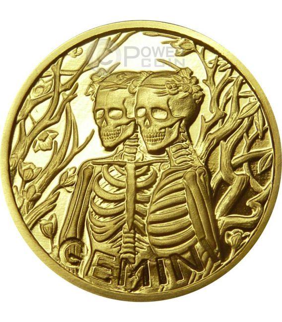 GEMINI Memento Mori Zodiac Skull Horoscope Moneda Oro 2015