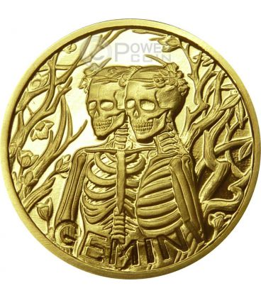 GEMINI Memento Mori Zodiac Skull Horoscope Gold Coin 2015