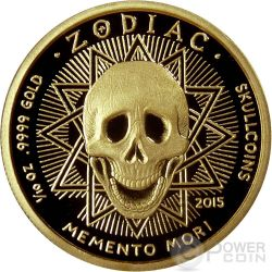 GEMINI Memento Mori Zodiac Skull Horoscope Gold Münze 2015