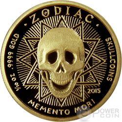 GEMINI Memento Mori Zodiac Skull Horoscope Золото Монета 2015