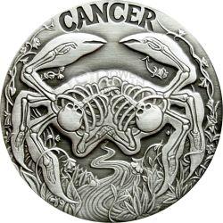 CANCER Memento Mori Zodiac Skull Horoscope Moneda Plata 2015