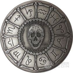 CANCER Memento Mori Zodiac Skull Horoscope Moneda Plata 2015