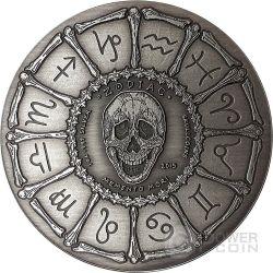 CANCER Memento Mori Zodiac Skull Horoscope Silver Coin 2015